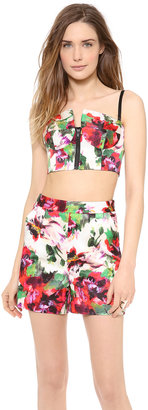 Milly Floral Print Zip Bustier Top