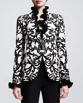 Alexander McQueen Printed One-Button Jacket