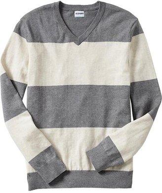 Old Navy Men's Bold-Stripe V-Neck Sweaters