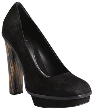 Fendi black suede square toe platform stacked heels