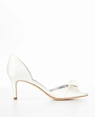 Ann Taylor Pleated Knot Satin Kitten Heel Sandals