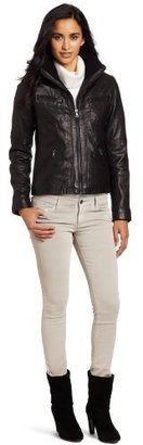 Tommy Hilfiger Women's Knit Collar Leather Bomber Jacket