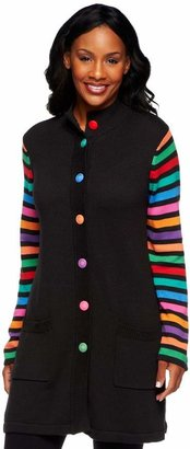 Bob Mackie Striped Sleeve Multi-color Sweater Jacket