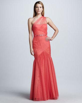 Monique Lhuillier Ruched One-Shoulder Gown
