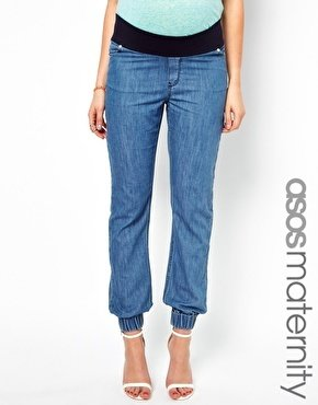 Asos Exclusive Lightweight Denim Trackpant - Light blue