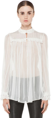 Alexander McQueen High Neck Pleated Blouse in Ivory