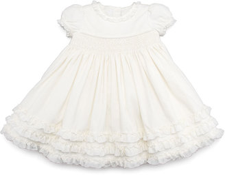 Ralph Lauren Smocked Corduroy Dress, Cream, 3-9 Months