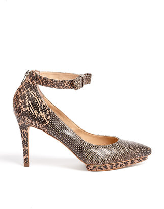 Loeffler Randall Taupe Watersnake Bow Pointed Court Shoes