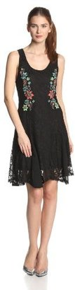 Miss Me Lace Fit and Flare Dress with Floral Embroidery