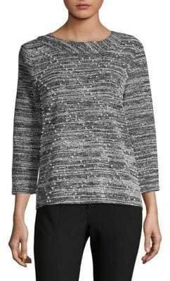 Karl Lagerfeld Paris Faux Pearl-Embellished Tweed Sweater