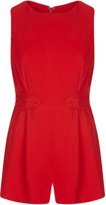 Topshop Tall Lace Panel Playsuit