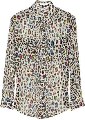 Equipment Signature leopard-print silk-chiffon shirt