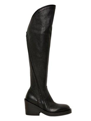 Ann Demeulemeester 90mm Calfskin Over The Knee Zipped Boots