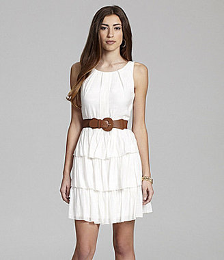 Teeze Me Belted Tiered Dress