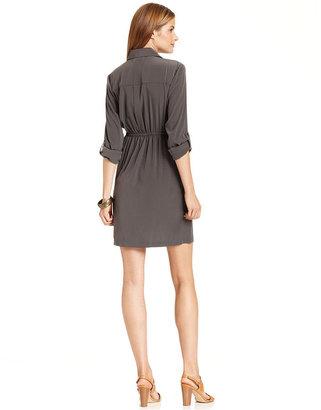 Alfani Petite Dress, Long-Sleeve Zipper-Front Cargo