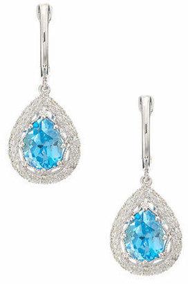 Effy 14K White Gold Diamond And Blue Topaz Earrings