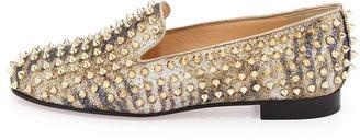 Christian Louboutin Rolling Spikes Glitter Loafer, Light Gold