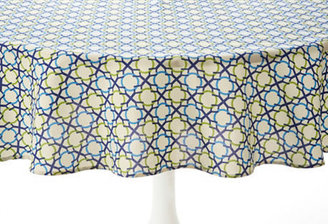 "Tablecloth 70"" Round, Geo Navy/Lime"