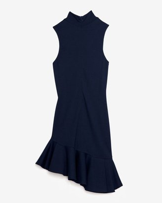Torn By Ronny Kobo Asymmetrical Ruffle Flare Turtleneck Dress