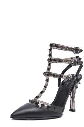 Valentino Rockstud Noir PVC & Calfskin Plexi Stud Slingbacks T.100 in Black