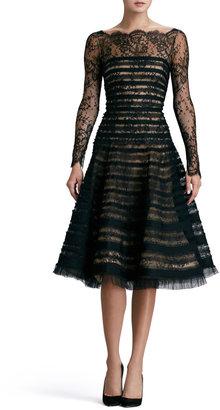 Carole Hochman DESIGN GROUP Ribbon-Striped Lace Dress, Black