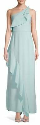Halston H One-Shoulder Crepe Ruffle Overlay Gown