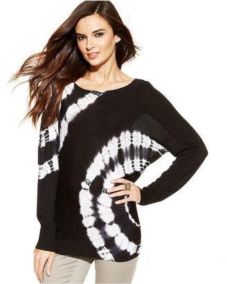 INC International Concepts Long-Sleeve Tie-Dye Embellished Sweater