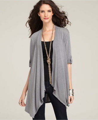 Style&Co. Cardigan, Short Sleeve Open Front Roll Tab