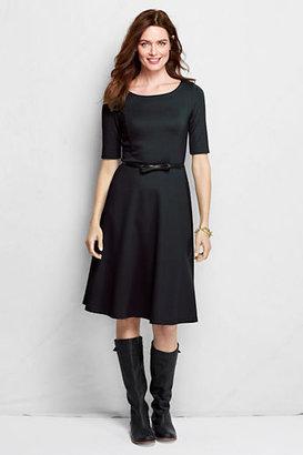 Lands' End Women's Tall Elbow Sleeve Ponte A-line Dress