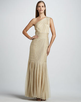 Tadashi Shoji One-Shoulder Gown with Illusion Detailing