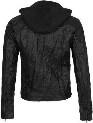 Topman Black Leather Look Biker Jacket With Jersey Hood