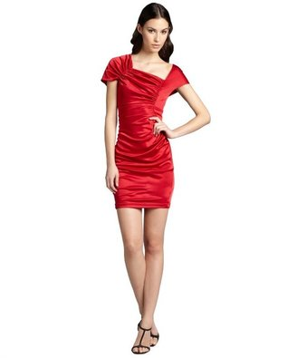 Hayden ruby jersey knit ruched asymmetrical sleeve party dress