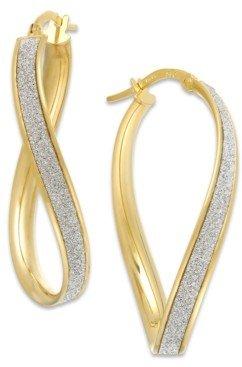 Italian Gold Glitter Wavy Hoop Earrings in 14k Gold