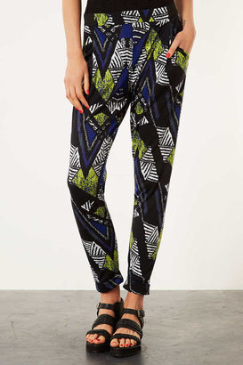 Topshop African Chevron Jersey Tapered Trousers