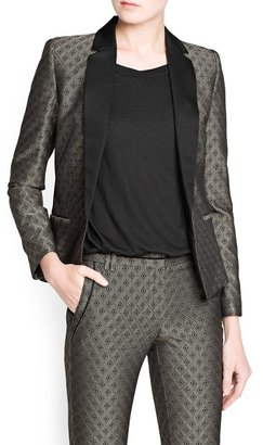 MANGO Rhombus jacquard suit blazer