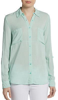 Splendid Long-Sleeve Button-Front Top
