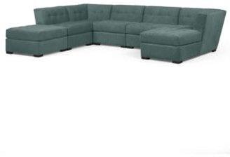 Roxanne Fabric 6-Piece Modular Sectional Sofa (Corner Unit, Chaise, 3 Armless Chairs & Ottoman): Custom Colors