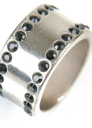 Sisi Amber Silver Crystal Ring in Jet