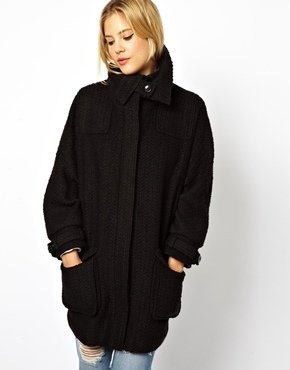 Asos Premium Long Line Coat With Funnel Neck - Black
