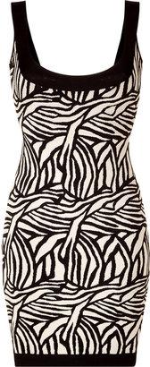 Herve Leger Black/Cream Patterned Bandage Dress