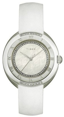 Timex Women's T2M593 Diamond Accented White Strap Stainless Steel Bracelet Watch $199.78 thestylecure.com