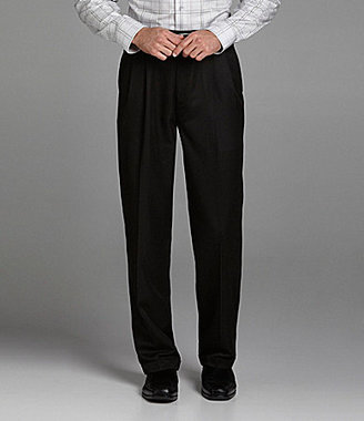 Roundtree & Yorke Microfiber Easy-Care Pleated Expander Dress Pants