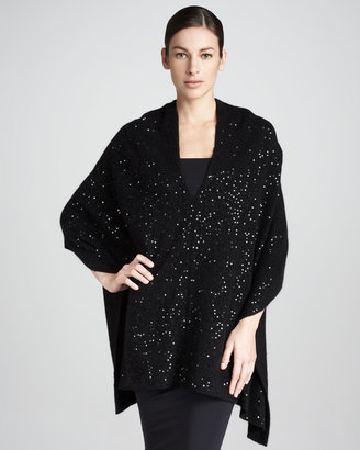 Neiman Marcus Sequined Cashmere Shawl Top