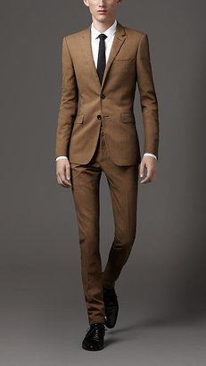 Burberry Slim Fit Cotton Linen Blend Suit