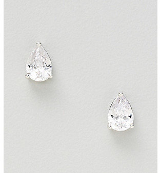 21st and Stone Silver Plated Medium Clear Cubic Zirconia Pear Shape Prong Stud Earrings
