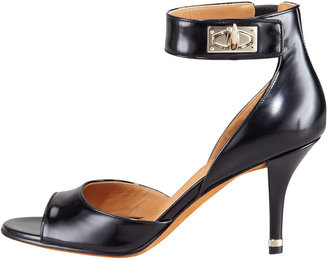 Givenchy High-Heel Ankle-Wrap Shark-Tooth Sandal