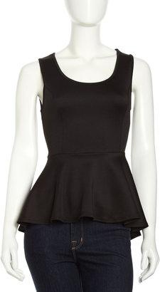 Romeo & Juliet Couture High-Low Peplum Blouse, Black