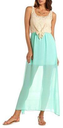 Charlotte Russe Crochet Tie-Front Maxi Dress