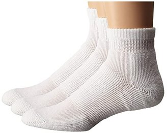 Thorlos Walking Mini Crew Moderate Cushion 3-Pair Pack (White) Quarter Length Socks Shoes