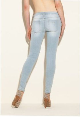 GUESS Power Skinny Low-Rise Denim Leggings in Heron Blue Wash